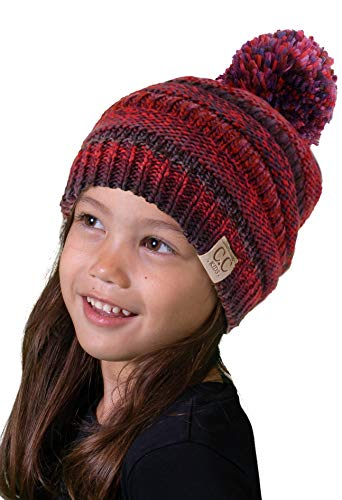 H-6847-70564 Kids Pom Beanie - Berry Burgundy Mix