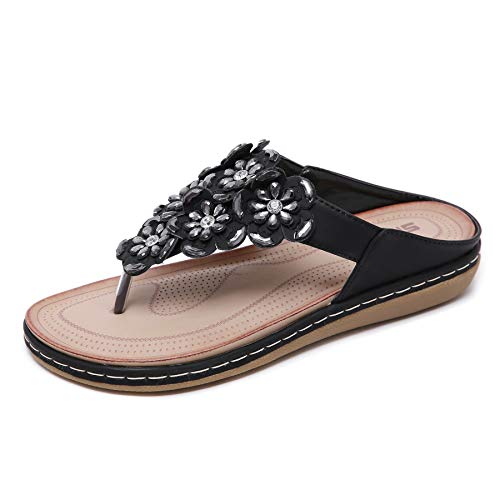 (SAIJING Women's Comfortable Thong Sandals Dressy T-Strap Flip Flop Sandals Beaded Rhinestone Flower Slip on Summer Beach Shoes Black Size)