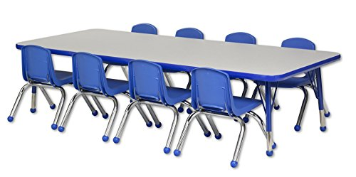ECR4Kids 30'' x 72'' Rectangular Activity Table, Gray Top/Blue Edge, Toddler Legs/Ball Glides, Eight 10'' Blue School Stack Chairs by ECR4Kids