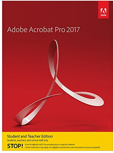 Adobe Acrobat Pro 2017 Student and Teacher Edition Windows [PC DISC] [VALIDATION REQUIRED] (Best Browser For Os X Yosemite)