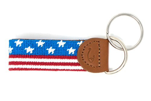 Needlepoint Key Fob & Key Ring by Huck Venture (USA Flag Banner) ()