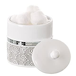 Creative Scents Mirror Damask Q Tip Holder, Decorative Canister Jar,  Durable Resin Swab/