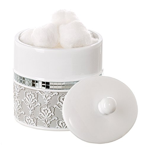 Creative Scents Mirror Damask Q Tip Holder, Decorative Canister Jar, Durable Resin Swab/ Cotton Ball Holder/Container- Beautiful Bathroom Vanity Accessories- Elegant Bath Storage (Gray & White)