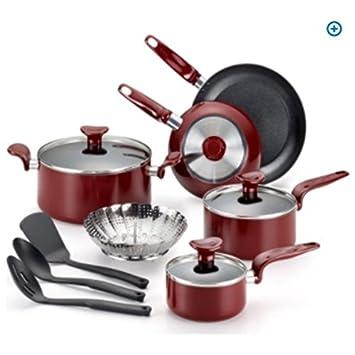 T-fal disfrutar antiadherente 12 piezas Utensilios de cocina Set, rojo: Amazon.es: Hogar