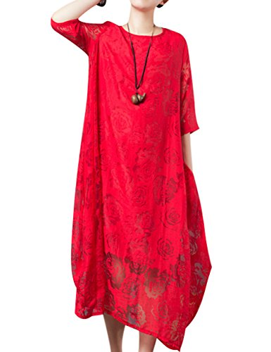 Youlee Women's Summer Spring Short Sleeve A-line Dress Style 2 Rot y46YWU