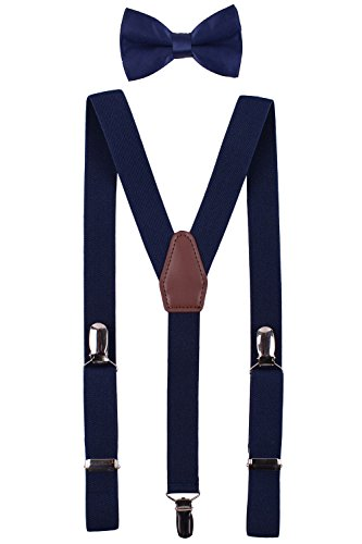 BODY STRENTH Adult's Suspenders with Bow Tie Set Y Shape Elastic Navy
