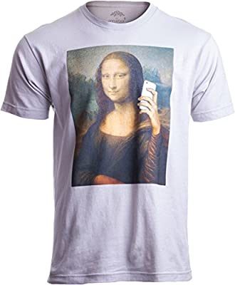 Ann Arbor T-shirt Co. Mona Lisa Selfie   Funny Random Party Bar Humor Joke Sarcastic Fashion T-Shirt