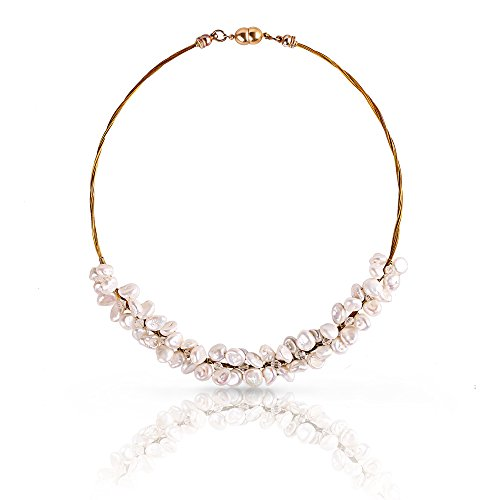 Stacey White Keishi Pearls and Clear Crystals Necklace on Twisted Gold-tone Wire Magnetic Clasp17