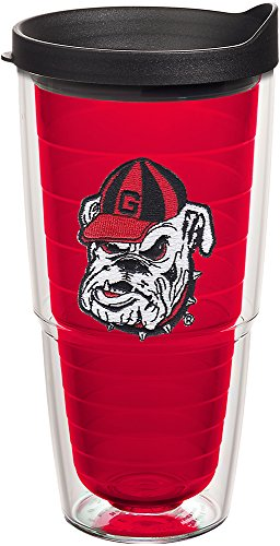 ia Bulldog Head UGA Insulated Tumbler with Emblem and Black Lid, 24oz, Red ()