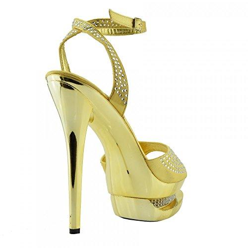Kick Footwear Damen Stilletto High Heel Rot Open Toe Diamant-Dekor-Partei-Plattform-Schuhe Gold