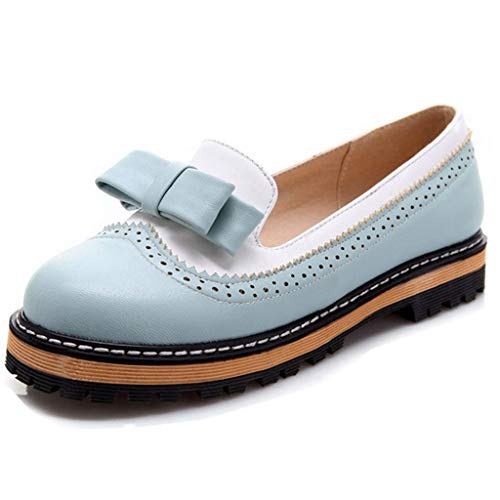 Womens Bowknot Platform Heel Oxford Shoes Round Toe Slip on Flat Loafers Oxfords Dress Shoes Blue