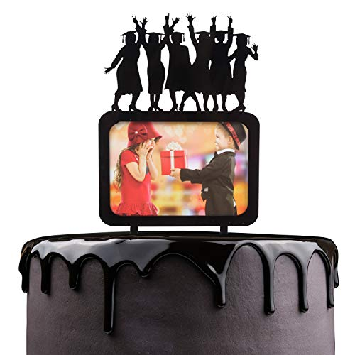 - Congrats Grad Cake Topper - Black Acrylic Photo Frame Silhouette Girls Jumping With Joy Of Scuess Cake Décor - High School College Graduation Girls Party Decoration