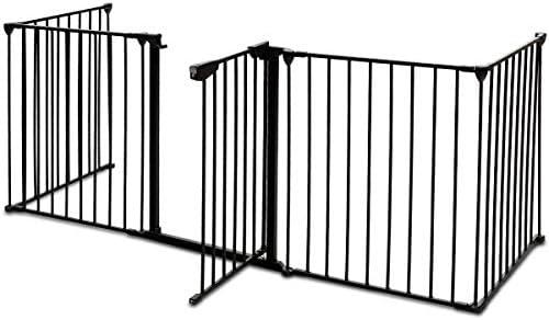 costway Reja de Protección para chimenea Parque Barrera Configuración rejilla Barrera de seguridad para escaleras Parque Barrera de seguridad para niños de seguridad plegable Metal 5 elementos con puerta: Amazon.es: Bebé