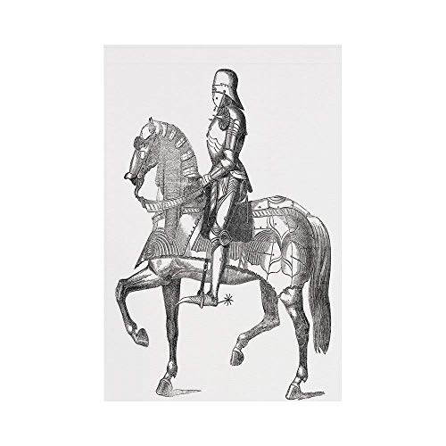 Polyester Garden Flag Outdoor Flag House Flag Banner,Medieval,Retro Vintage Stylized Illustration of Middle Age Renaissance Knight on the Horse,Grey White,for Wedding Anniversary Home Outdoor Garden D