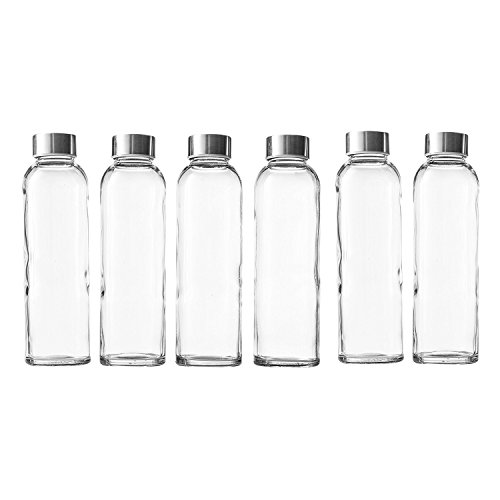 Seacoast - 18 Oz Glass Juice Bottles With Regular 18/10 Steel Caps (6, Clear) ()