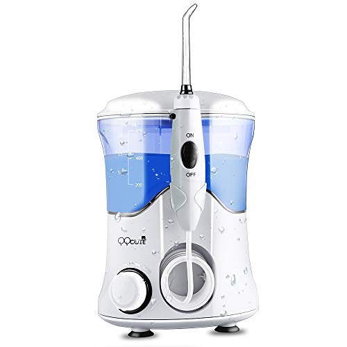QQcute Water Dental Flosser for Teeth Clean Portable, with 7 Multifunctional Tips Electric Oral Irrigator, 600ml Capacity 10 Pressure Countertop For Family & Home Use
