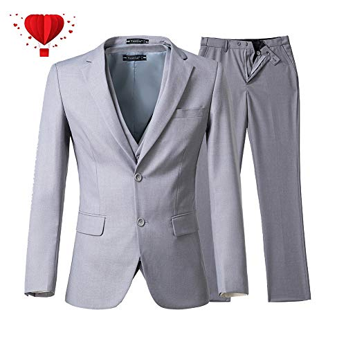 Yanlu Mens 3 Piece Suits Slim Fit Two Buttons Wedding Prom Tuxedos