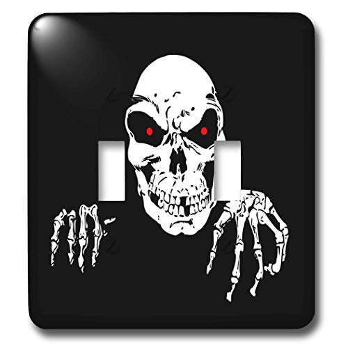 3dRose Sandy Mertens Halloween Designs - Death is Waiting Evil Skeleton with Black Background, 3drsmm - Light Switch Covers - double toggle switch -