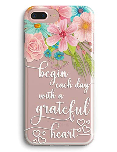 iPhone 7 Plus Case,iPhone 8 Plus Case,Lovely Floral Flowers Spring Blossoms Bible Verses Quotes Christian Inspirational Clear Soft TPU Anti Scratch Protective Case Cover for iPhone 7/8 Plus 5.5