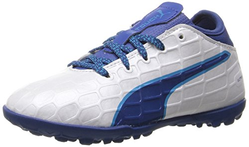 PUMA Kids' Evotouch 3 TT Jr Skate Shoe, Puma White-True Blue-Blue Danube, 12 M US Little Kid (Shoes Kids Soccer Puma)