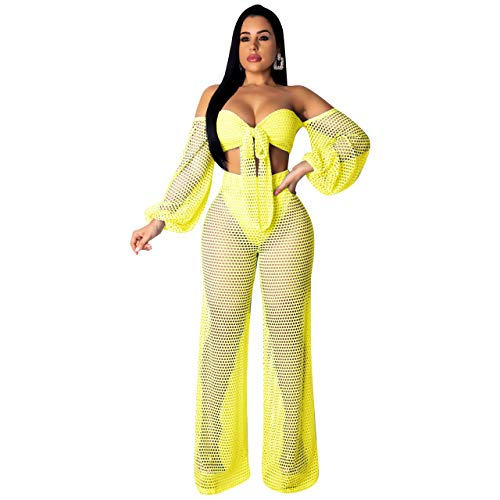 Women 2 Piece Sexy See Through Sheer Mesh Bandage Bikini Cover Up Hoodie Crop Tops and Legging Pants Set Yellow