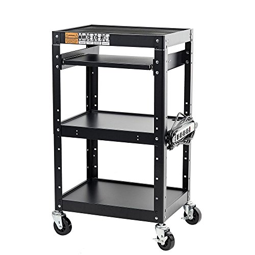 "Pearington AV and Presentation Cart Stand for Video Projector, TV, Laptop Computers, Printers-Metal Construction Rolling Storage Cart with Adjustable Shelves and 4 wheels;4 outlets and 12"" cord, Black"