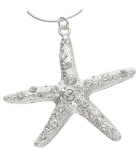 (Large Silver Tone White Rhinestone Starfish Pendant Necklace)