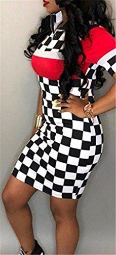 Plaid Red Checkerboard Club Womens Sexy Cromoncent Midi Bodycon Dress ERwfFTq