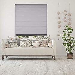 Calyx Interiors Blackout White Cordless Fabric Roman Shade