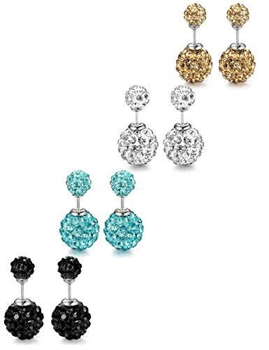 ORAZIO 4 Pairs Stainless Steel Cubic Zirconia Stud Earrings for Women Ear Pierced Double Beads Rhinestone