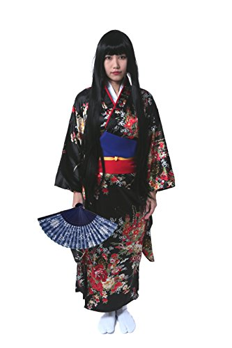 HalloweenCostumeParty Hell Girl Enma Silk 100% Long Robe Kimono and Fan Set  for Dancing Women dae49838b