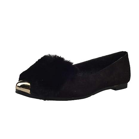 f8ba5f3c4f915 Amazon.com: August Jim Women's Fluffy Flats Shoes,Slip-on Loafers ...