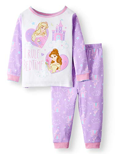 Disney 2 Piece Pajama Bottoms - Disney Princess Belle Aurora I Rule Bedtime 2 Piece Baby Girls Sleepwear Pajama Set,Purple,18 Months