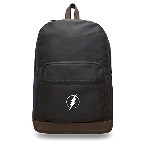 - Flash Comic Superhero Canvas Teardrop Backpack with Leather Accents, Black