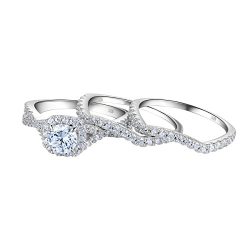 Newshe Engagement Wedding Ring Set for Women 925 Sterling Silver 3pcs Round White AAA Cz Size -