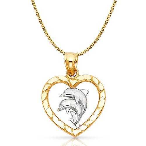 14K Two Tone Gold Heart with Dolphin Charm Pendant with 1.7mm Flat Open Wheat Chain Necklace - 18