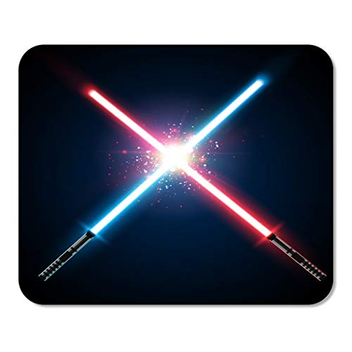 Suike Mousepad Computer Notepad Office Two Crossed Light Swords Fight Blue and Red Crossing Home School Game Player Computer Worker 9.5x7.9 Inch