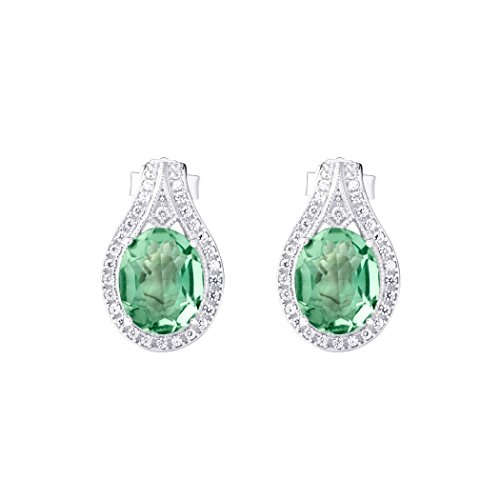 ICELEA Green Amethyst Contemporary Silver Stud Earring (Gam Ea)