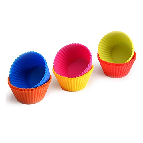 18Pcs / 24Pcs Silicagel Cupcake Liners Reusable Baking Cups Nonstick Easy Clean Pastry Muffin Molds Cupcake Baking Cup Xmas Cake Cup (18)]()