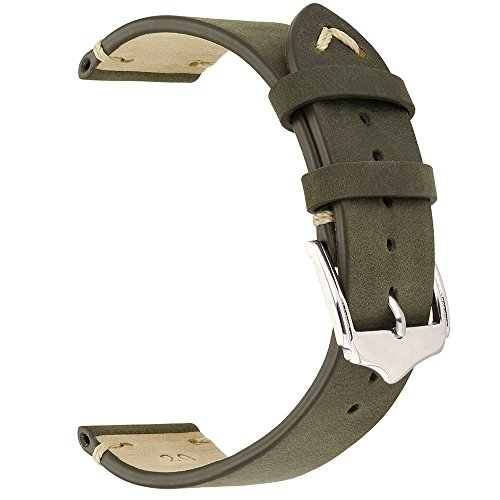 EACHE 20mm Genuine Leather Watch Band Green Crazy Horse Leather Replacement Straps