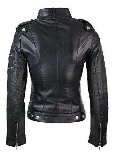 Chinois Inverser Noir Style Col Veste Doubler De Bouton 100 Biker Cuir BzvXxqfwn0