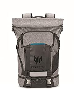 "Acer Predator Rolltop Gaming Backpack, Water Resistant Lightweight Travel Backpack Fits and Protects Up to 15.6"" Gaming Laptops, Grey with Teal Accents (B07CQMBX97) 