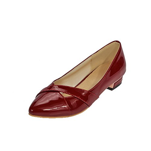 Allhqfashion Womens Pull-on Lakleder Gesloten Teen Lage Hakken Pumps-schoenen Claret