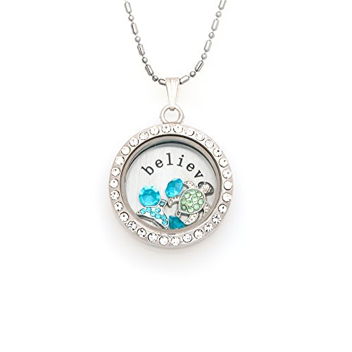 30mm Round Rhinestone Magnetic Floating Locket Necklace with Charms (Believe Mermaid)