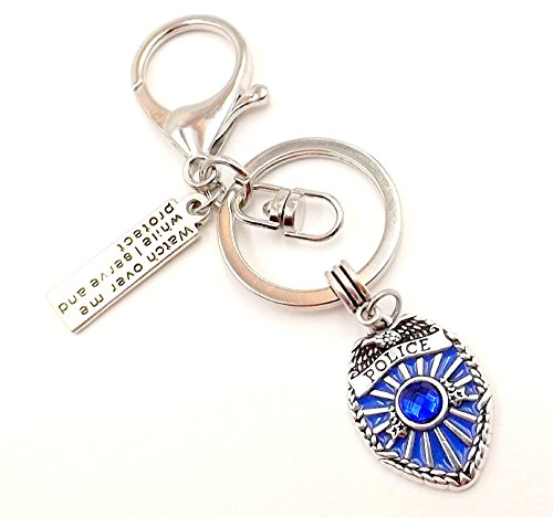 [Police Badge Keychain First Responder Thin Blue Line Men/Women Serve Protect Pocket Car Accessory] (First Responders Costumes)