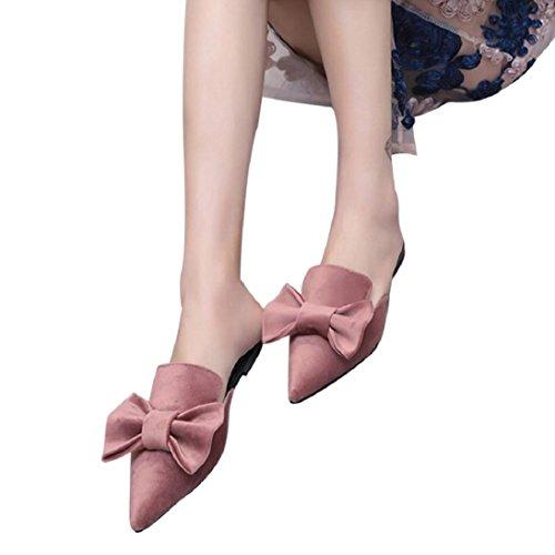 Sandali Piatti Fheaven Womens Tinta Unita Mocassino Rosa A Punta. scarpe   pelle sintetica ... 9742521871e