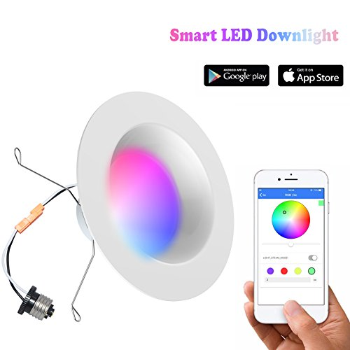 iLintek Smart downlight-Bluetooth Multicolor Dimmable-RGBW Recessed Color Changing Party Disco Light-App Smartphone Controlled- 13W(Equivalent 85w)-No Hub Required (6inch)
