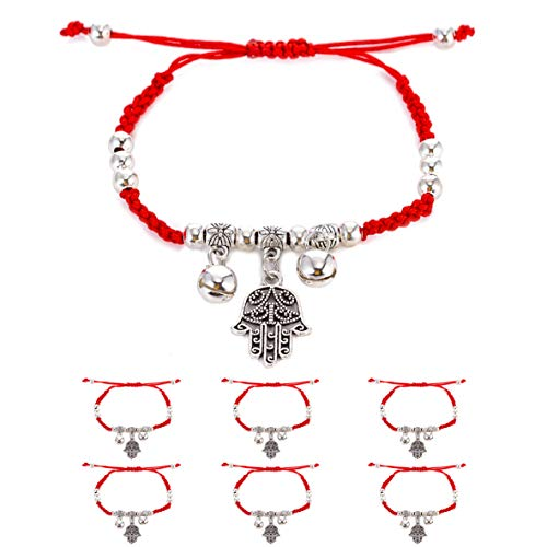 6pcs Evil Eye Hamsa Hand String Kabbalah Bracelets for Protection and Luck Hand-Woven Red Black Cord Thread Friendship Bracelet Anklet (Silver Hand) ()
