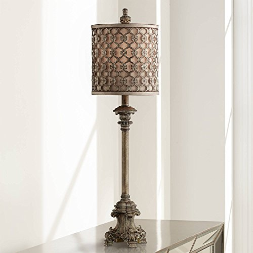 French Buffet Table Lamp Beige Scroll Metal Lattice Candlestick Framed Cylinder Shade for Dining Room - Regency Hill