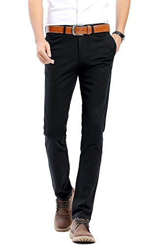 INFLATION Men's Stretchy Slim Fit Casual Pants,100% Cotton Flat Front Trousers Dress Pants For Men,Black Pants Size 36